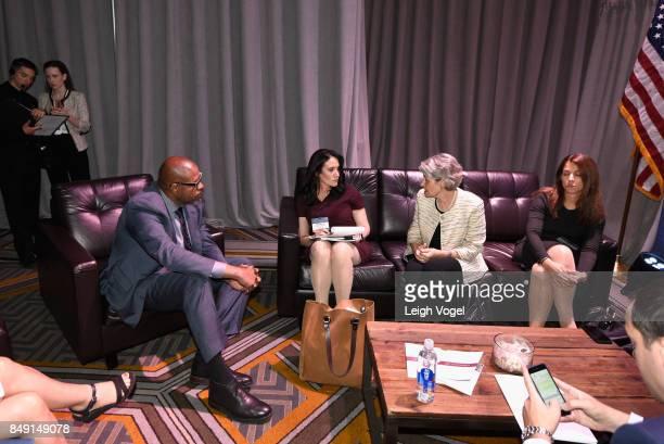 Forest Whitaker UNESCO Special Envoy for Peace Michelle CarusoCabrera Chief Correspondent NBCU and Irina Bokova Director General UNESCO attend The...
