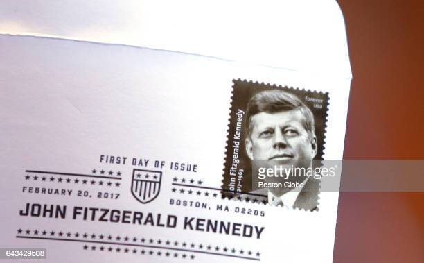 Forever stamp in commemoration of the centennial of President John F Kennedy's birth is seen on an envelope at the JFK Library in Boston on Feb 20...