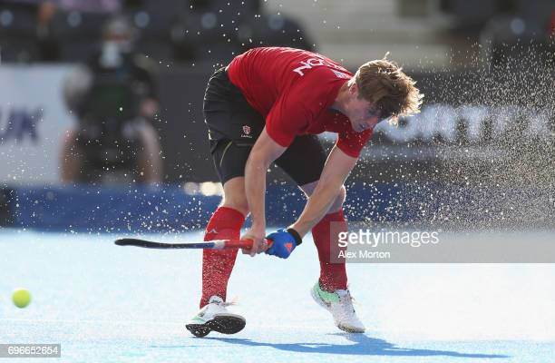 Foris Van Son of Canada scores their fourth goal during the Hero Hockey World League SemiFinal Pool B match between Pakistan and Canada at Lee Valley...