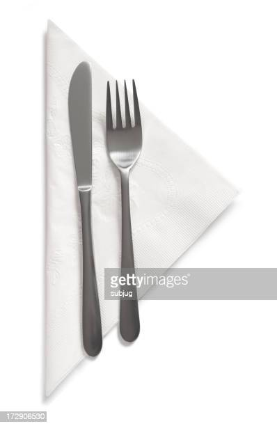 Fork and knife on napkin