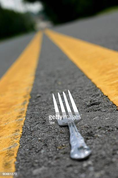 Fork in the road parallel to the yellow dividers