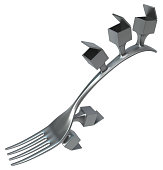 Fork metal with attached boxes, surreal 3d illustration, horizontal, isolated, over white