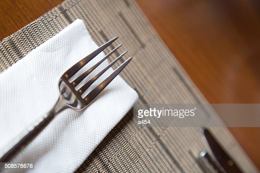 Fork on a napkin. : Stockfoto