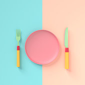 Fork with knife and  plate pastel color with copy space for your text , concept pastel color 3d render.