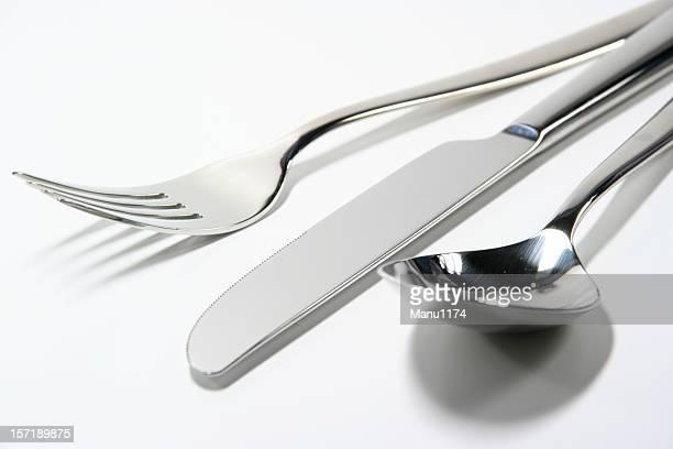 fork, knive und Löffel, isoliert auf weißem Hintergrund