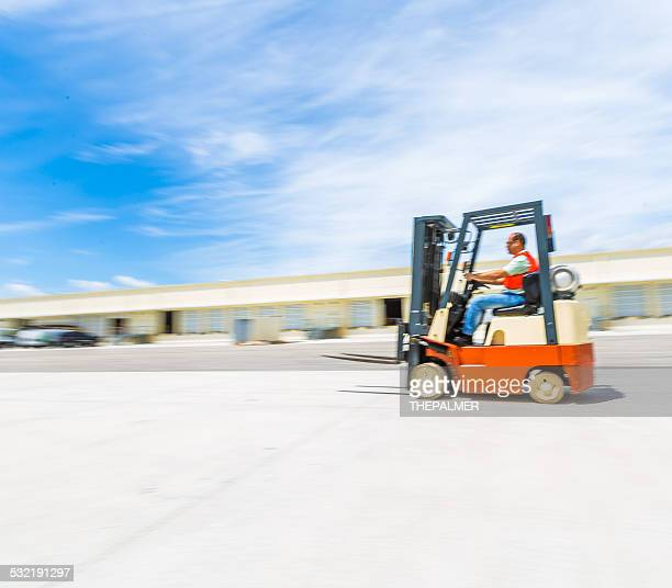Forklift at warehouse