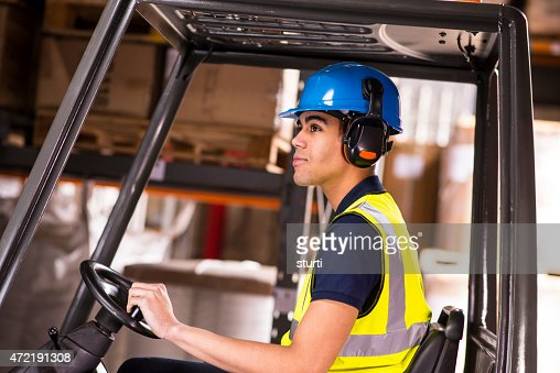 forklift driver in a warehouse