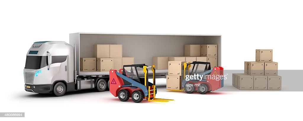 Forklift is loading the truck : Stock Photo