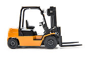 Isolated forklift truck