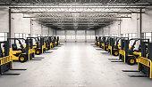 3d rendering forklift trucks in factory