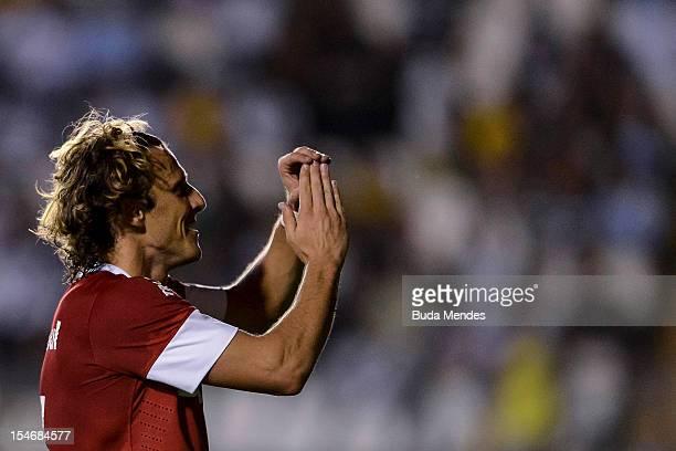 Forlan of Internacional celebrates a scored goal during a match between Vasco and Internacional as part of the brazilian championship Serie A at Sao...