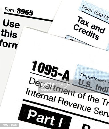 IRS Form 1095-A for Obamacare : Stock Photo
