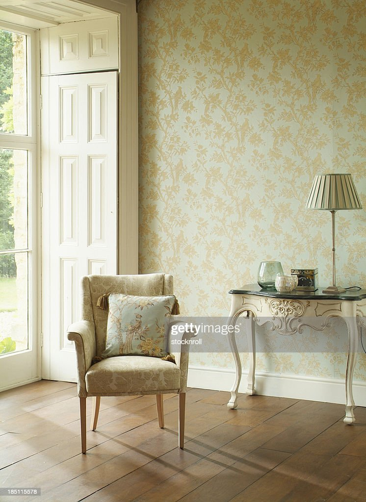 Formal Arm Chair In Window : Stock Photo