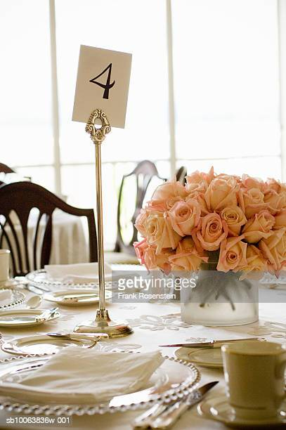 Formal dinner setting with table number