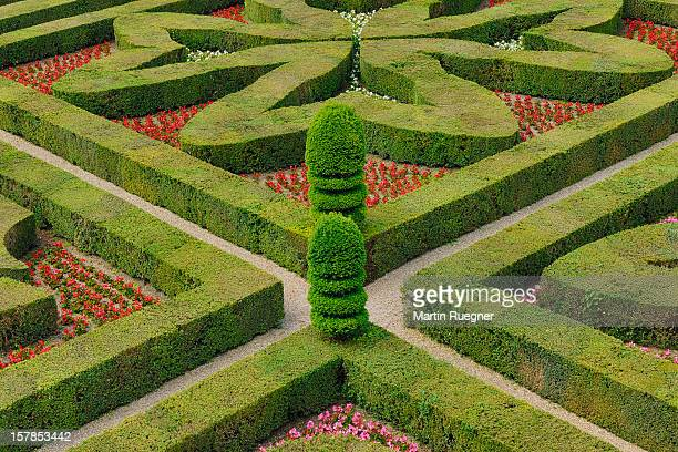 Formal hedged garden of Villandry Castle.