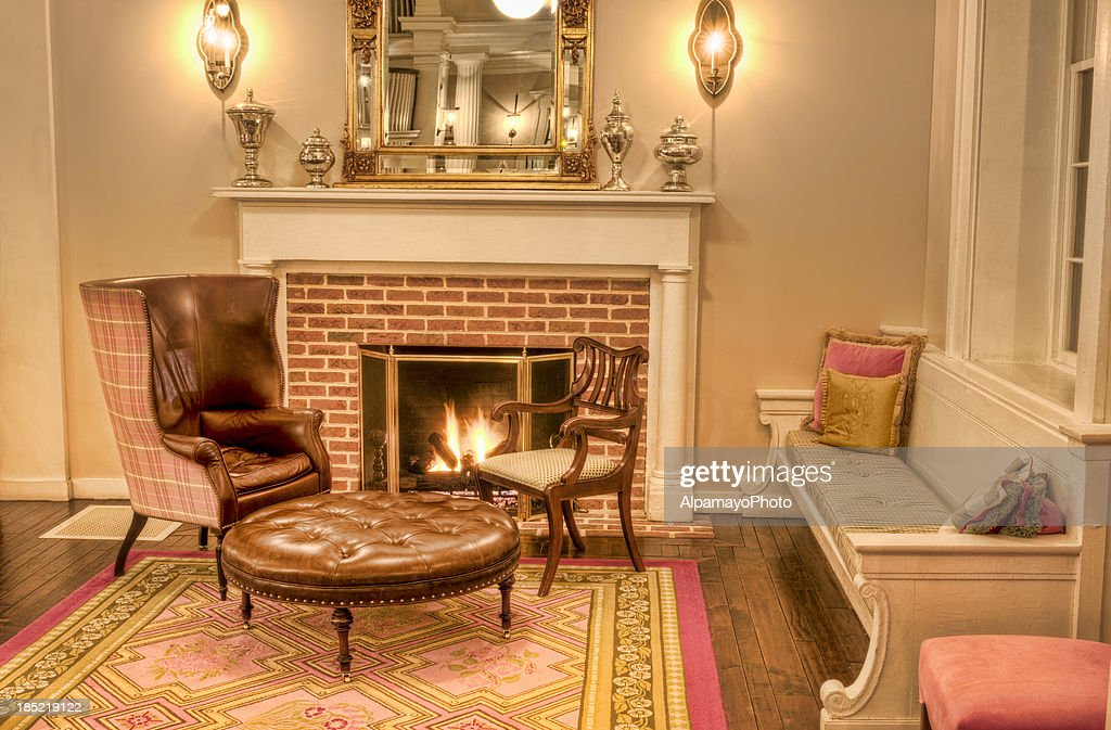 Formal Living Room With Fireplace And Antique Furniture   IV : Stock Photo Part 36