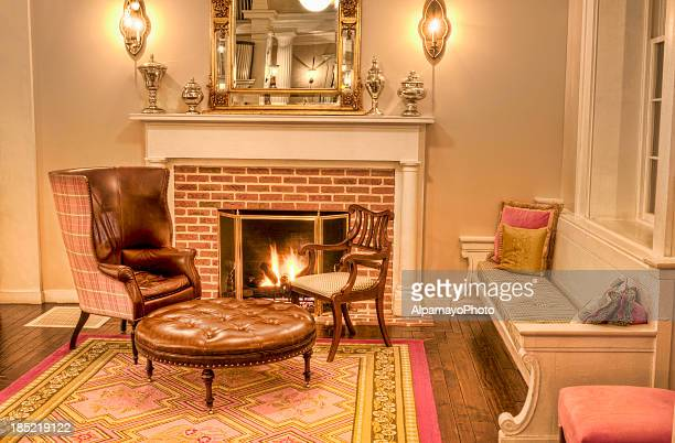 Formal Living room with fireplace and antique furniture - IV