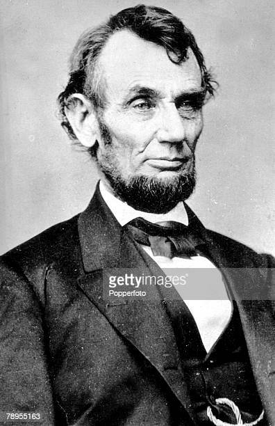 Formal portrait of Abraham Lincoln 1809 1865 16th President of the United States of America famous for saving the Union in the American Civil and the...