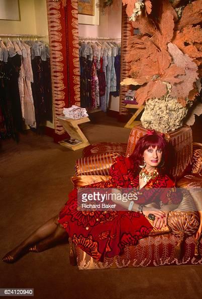A formal portrait of English fashion designer Zandra Rhodes in the summer of 1989 at her Grafton Street boutique central London England Dame Zandra...