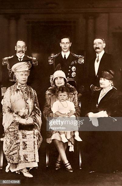 A formal portrait on the occasion of the homecoming of the Duke and Duchess of York from their Tour of the Empire 1927 Back row left to right King...