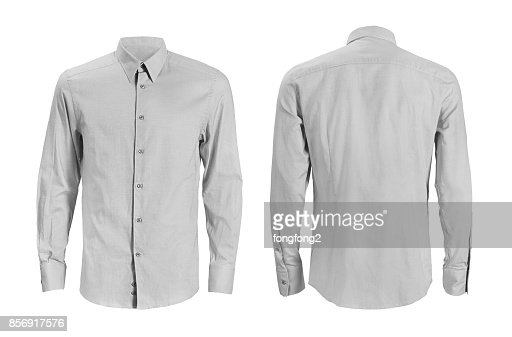 Formal shirt with button down collar isolated on white : Stock Photo