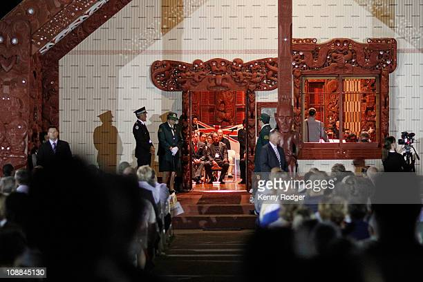 Formalities are carried out inside the Whare Runanga during the dawn service on the Treaty Grounds during the Waitangi Day celebrations on February 6...