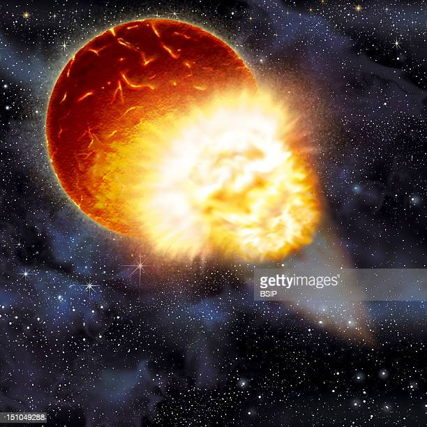 Formation Of The Moon Phase 4 Illustration Of A Moon Creation Theory Phase 4 The Gathered Debris Fall To Earth And Provoke Another Collision Cf...
