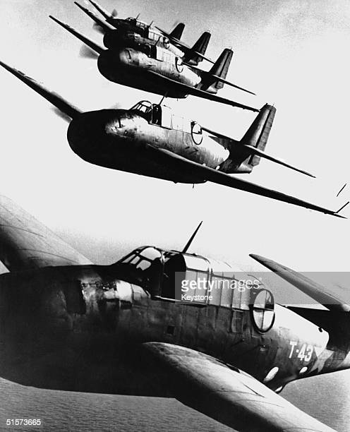 A formation of US Navy Avenger planes the versatile torpedobombers which have proved highly effective against the Japanese naval force in the Pacific...