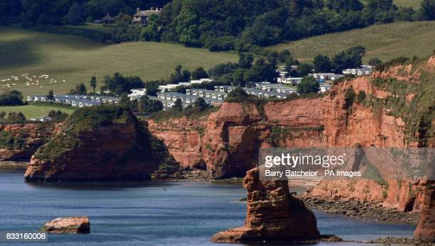 Formation on the cliff at Ladram Bay near Sidmouth Devon that shows the 'face' of an infamous local smuggler called Abraham Mutter