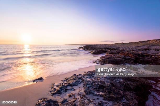 Formentera coastline idyllic beach at sunset in Balearic Islands, Spain