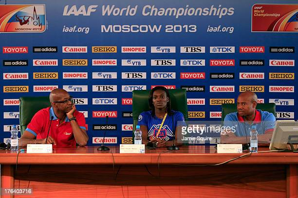 Former 400m Hurdles World and Olympic Champion Edwin Moses of United States 2008 Olympi 100m Hurdles champion Dawn HarperNelson of United States and...