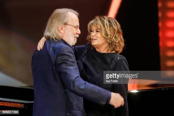 Former ABBA member Benny Andersson and Norwegian singer Wencke Myhre during the tv show 'Willkommen bei Carmen Nebel' at TUI Arena on September 30...