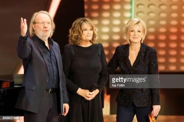 Former ABBA member Benny Andersson Norwegian singer Wencke Myhre and German presenter Carmen Nebel during the tv show 'Willkommen bei Carmen Nebel'...