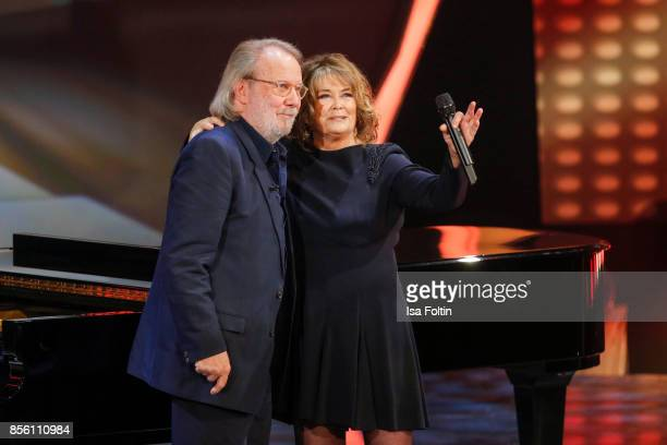 Former ABBA member Benny Andresson and Norwegian singer Wencke Myhre during the tv show 'Willkommen bei Carmen Nebel' at TUI Arena on September 30...