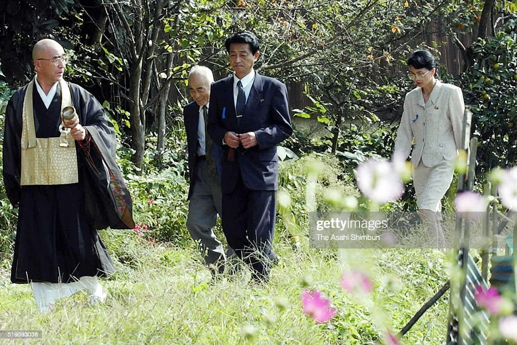 Former abductees by North Korea Yasushi Chimura and his wife Fukie Hamamoto visit their ancesters graves on October 18 2002 in Obama Fukui Japan