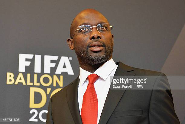 Former AC Milan player George Weah arrives during the FIFA Ballon d'Or Gala 2013 at the Kongresshaus on January 13 2014 in Zurich Switzerland