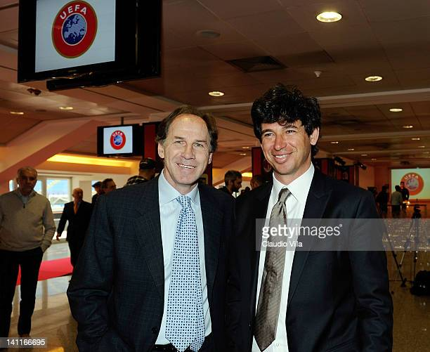 Former AC Milan players Demetrio Albertini and Franco Baresi during the UEFA President's Award at Giuseppe Meazza Stadium on March 12 2012 in Milan...