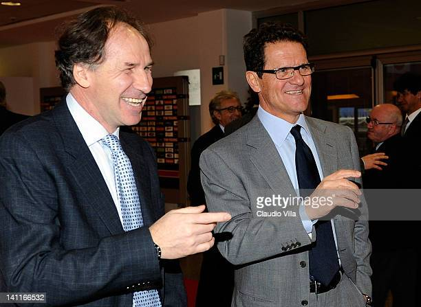 Former AC Milan players Fabio Capello and Franco Baresi during the UEFA President's Award at Giuseppe Meazza Stadium on March 12 2012 in Milan Italy