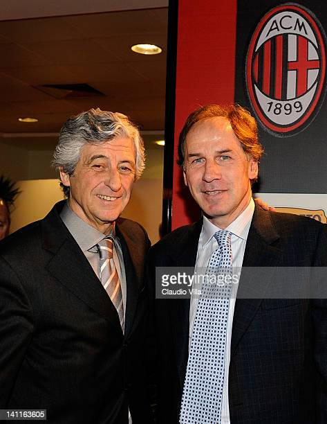 Former AC Milan players Gianni Rivera and Franco Baresi pose during UEFA President's Award at Giuseppe Meazza Stadium on March 12 2012 in Milan Italy
