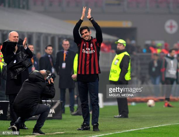 Former AC Milan's player Kaka greets fans during the UEFA Europa League group D football match between AC Milan and FK AustriaWiendur at the San Siro...