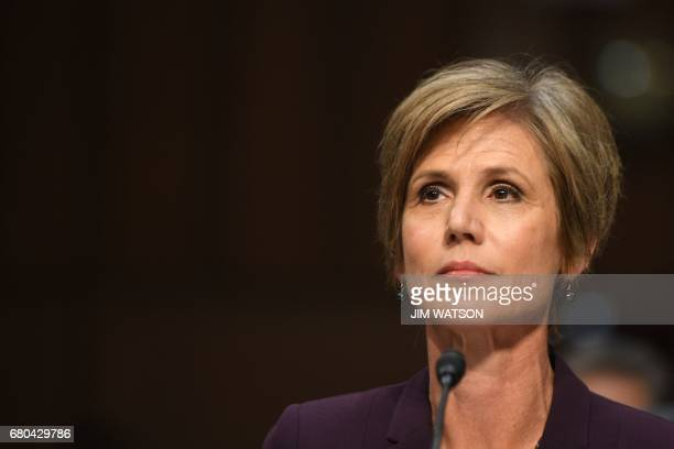 Former acting Attorney General Sally Yates prepares to testify on May 8 before the US Senate Judiciary Committee on Capitol Hill in Washington DC /...
