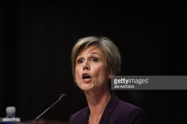 Former acting Attorney General Sally Yates testifies on May 8 before the US Senate Judiciary Committee on Capitol Hill in Washington DC / AFP PHOTO /...
