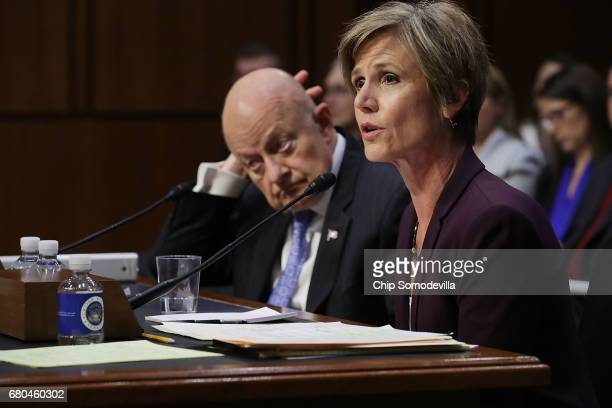 Former acting US Attorney General Sally Yates and Former Director of National Intelligence James Clapper testify before the Senate Judicary...