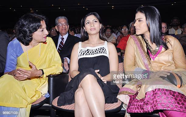 Former Actress Tanuja with daughters Tanisha and Kajol at the Dignity Donor Privilege programme in Mumbai on Tuesday