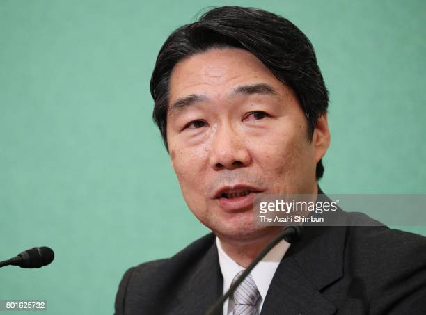 Former administrative vice education minister Kihei Maekawa attends a press conference at the Japan National Press Club on June 23 2017 in Tokyo...