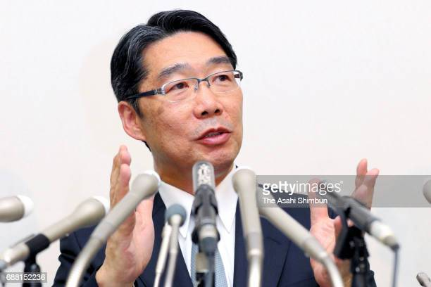 Former administrative vice education minister Kihei Maekawa speaks during a press conference on May 25 2017 in Tokyo Japan Maekawa said the ministry...