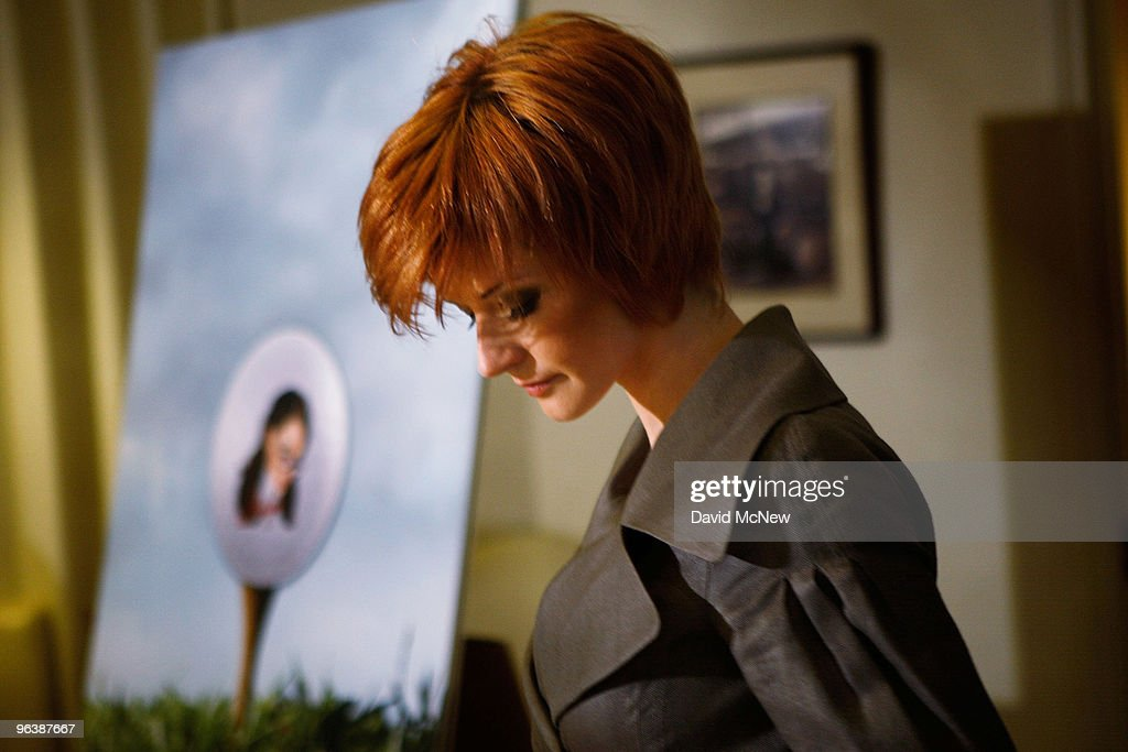 Former adult film actress Veronica Siwik-Daniels (aka Joslyn James), who claims to have had a long-term intimate relationship with golf icon Tiger Woods, takes her seat near an drawing of a golf ball with her face on it at a press conference at the offices of attorney Gloria Allred on February 3, 2010 in Los Angeles, California. Allred and Siwik-Daniels are calling for the end of the production of golf balls bearing an image of Siwik in the product series, 'Tail of the Tiger - The Mistress Collection'. Allred argues that putting the face of a woman on a ball which golfers hit with full force could result in marks on the image that might resemble bruises and may lead to inappropriate jokes about hitting women. James says that she loved Woods and had reason to believe that he loved her. She has been in seclusion and has not talked to the press until now.
