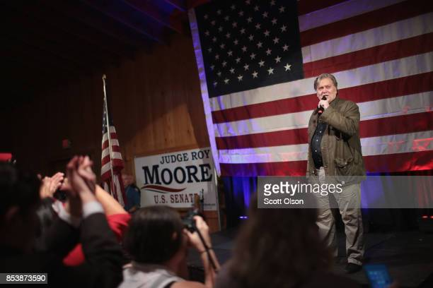 Former advisor to President Donald Trump and executive chairman of Breitbart News Steve Bannon speaks at a campaign event for Republican candidate...