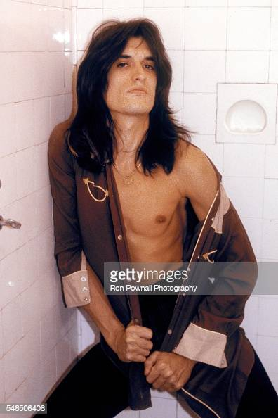 Former Aerosmith guitarist Joe Perry poses for a portrait in a shower in his mansion in Chestnut Hill Massachusetts in September 1979