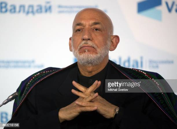 Former Afghan President Hamid Karzai attends a meeting with Valdai Discussion Club members on October 2017 in Sochi Russia